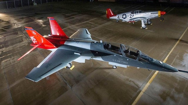 The Boeing/Saab T-7 Red Hawk, originally known as the Boeing T-X, is an American/Swedish advanced jet trainer developed by Boeing in partnership with Saab AB