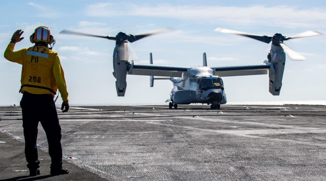 First landing and take-off of CMV-22B tiltrotor aircraft on US Navy USS Carl Vinson aircraft carrier